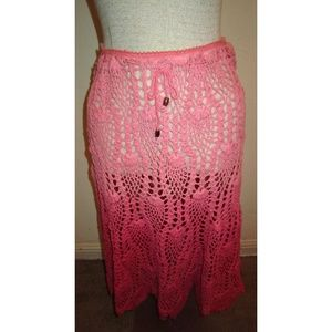 Raviya Pink Crocheted Skirt Med